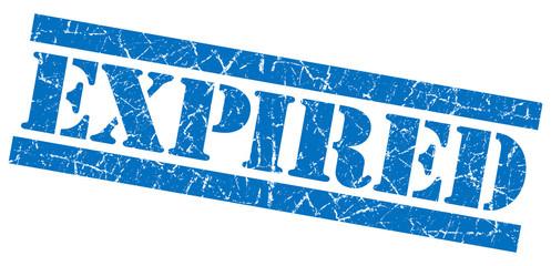 Expired blue grunge square stamp