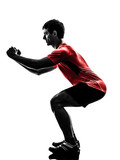 man exercising fitness workout  lunges crouching silhouette