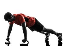homme exercice physique entraînement push ups silhouette