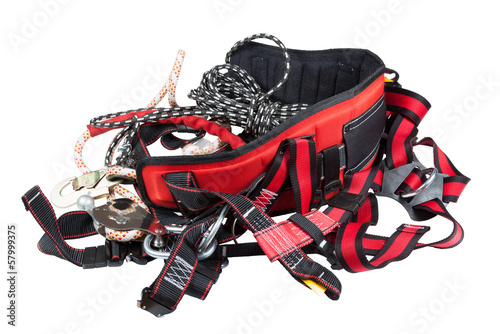 ndustrial safety belt and rope on a white background