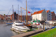 Harbor at Motlawa river in old town of Gdansk, Poland