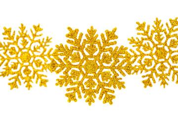 Golden snowflake isolated