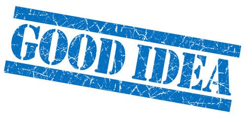 Good idea blue grungy scratched isolated striped stamp