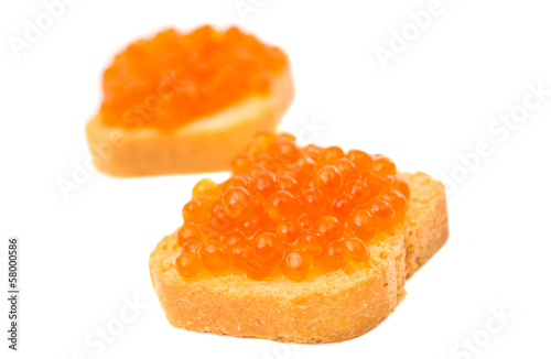 toast with red caviar isolated