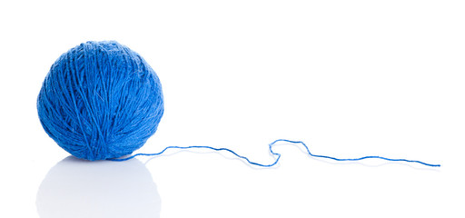 Blue wool yarn ball isolated on white