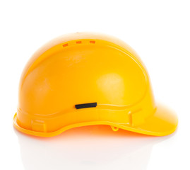 Yellow safety helmet on white background. hard hat isolated on w