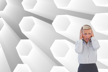 Composite image of businessman shouting at colleague with his bu