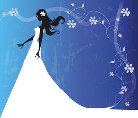 silhouette di sposa su sfondo floreale