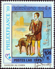 Boy with Dog by Picasso (Laos 1989)