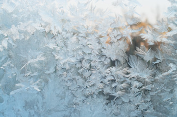 Frozen window, Christmas background
