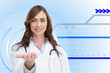 Composite image of portrait of female nurse holding out open pal