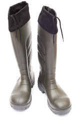 Khaki Wellington Boots on white background