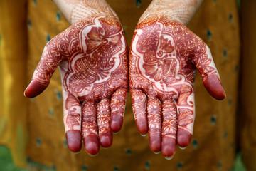 Beautiful hand with henna design