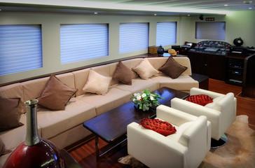 lounge of luxury yacht