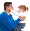 Vater und Tochter isoliert - lachend, Spaß, Freude