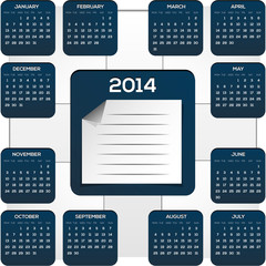 Dark Blue Calendar For New Yearmade in plane style