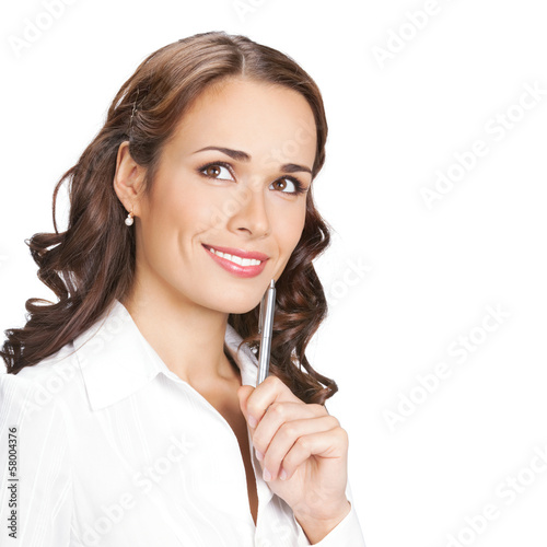Young businesswoman with pen, isolated