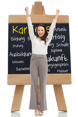 Composite image of cheerful businesswoman