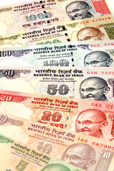 Close up of Indian currency notes