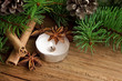 Holiday decoration with candle,fir and cinnamon