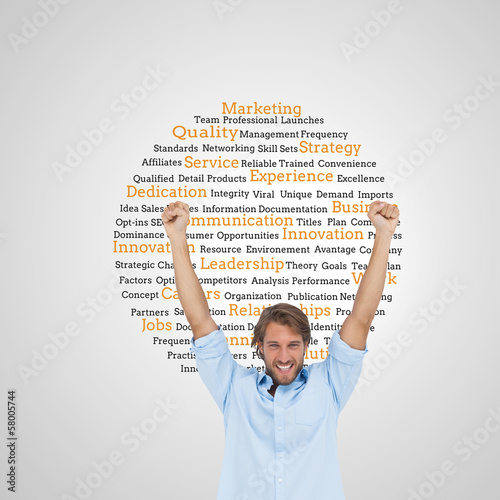 Composite image of happy man celebrating success with arms up