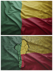 Benin flag and map collage