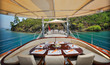 dinner table on the luxury sailboat - 58006348