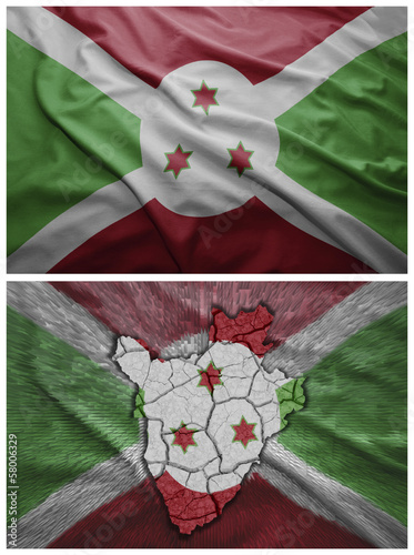 Burundi flag and map collage