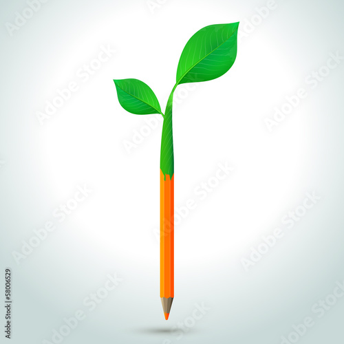 Pencil with leaves