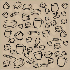 set of cups and saucers coffee beans. vector