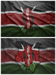 Kenya flag and map collage