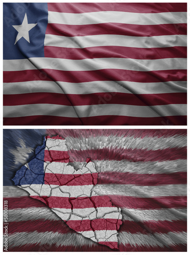 Liberia flag and map collage