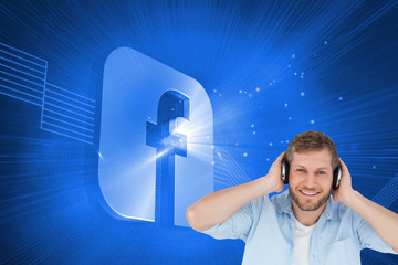 Composite image of trendy model listening to music and looking a