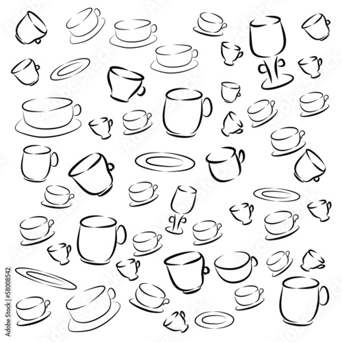 set of cups and saucers . vector