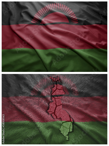 Malawi flag and map collage