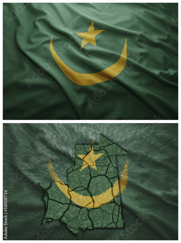 Mauritania flag and map collage