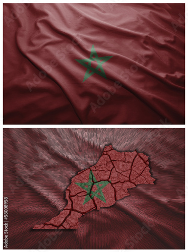 Morocco flag and map collage