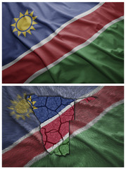 Namibia flag and map collage