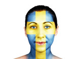 Swedish flag on a women face