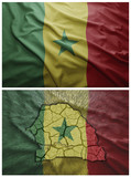 Senegal flag and map collage