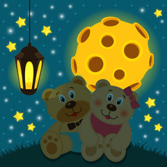 bears under the moon -  vector illustration