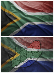 South Africa flag and map collage