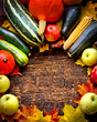 Autumn harvest - Vegetable,fruits on wooden background