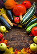 Autumn harvest - Vegetable,fruits on wooden background