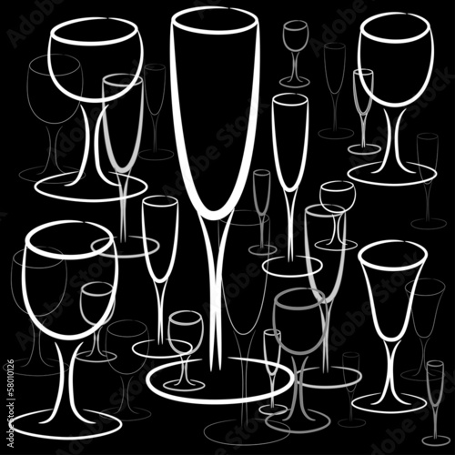 set of glasses of different sizes, vector
