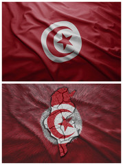 Tunisia flag and map collage