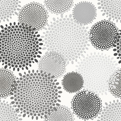 Abstract floral seamless pattern. Monochrome background