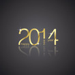 Gold New Year 2014 black background vector