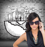 Composite image of serious elegant brunette wearing sunglasses o