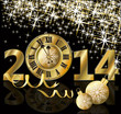 Golden New 2014 Year card, vector illustration